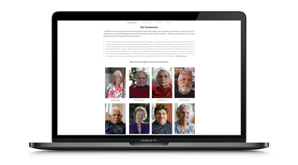 Stolen Generations mockup with testimonials on the screen illuminnace Solutions News National Apology Day 2020