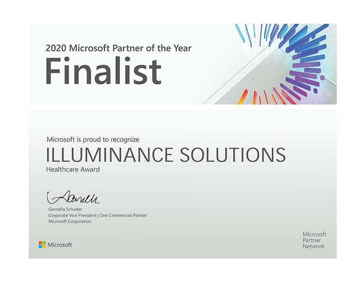 Healthcare Finalist Partner of the Year Award 2020 illuminance Solutions