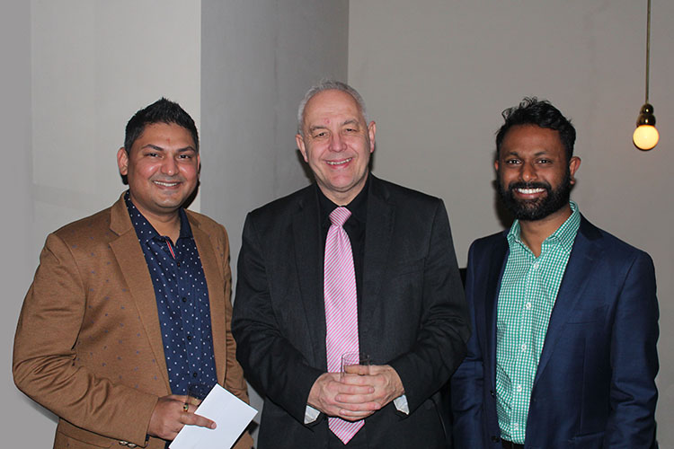 COMO party Nilesh with Alec Coles and James Jegasothy