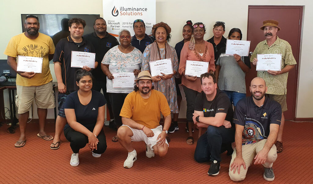 illuminance Solutions team in Broome teaching Office 365 to the indigenous community group photo