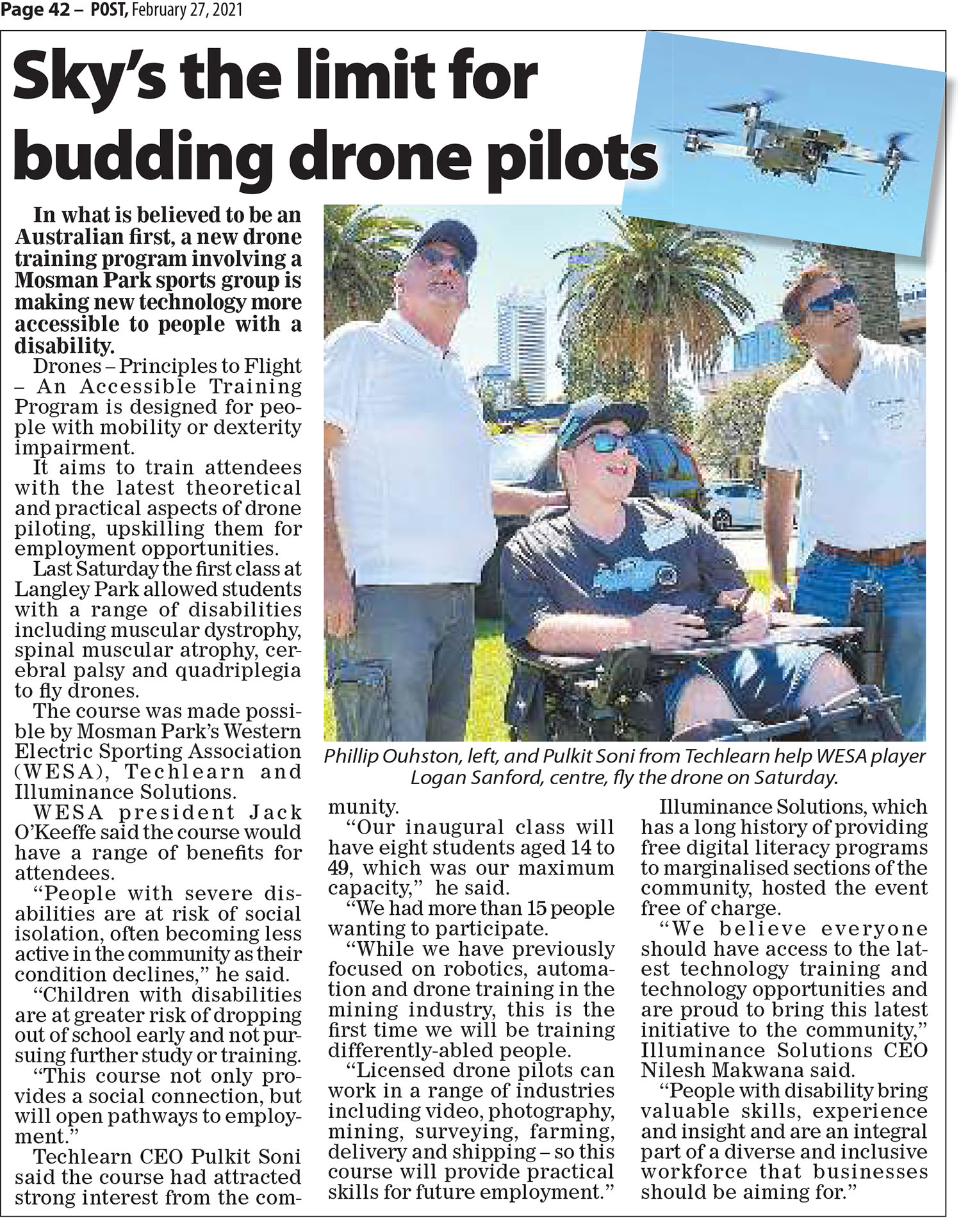 Sky's the limit for budding drone pilots - Post Newspaper 26022021 illuminance Solutions web page
