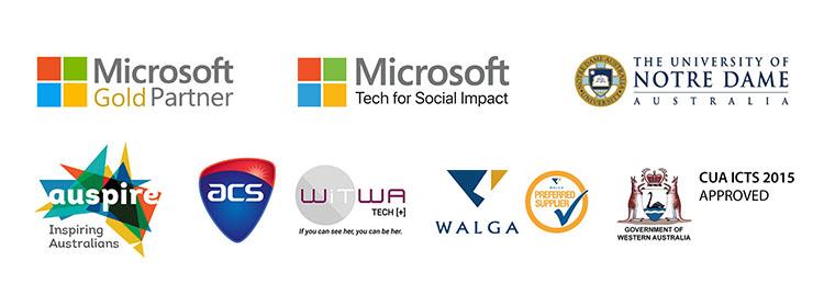 Partners Logos 2021 updated Microsoft Gold Partner Auspire ACS WiTWA CUA